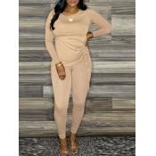 lovely Casual O Neck Fold Design Khaki Two Piece Pants Set