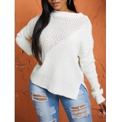 lovely Stylish O Neck Hollow-out White Sweaters
