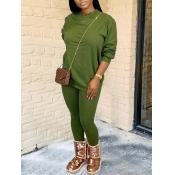 Lovely Casual O Neck Basic Skinny Green Two Piece Pants Set