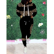 lovely Casual Hooded Collar Leopard Print Patchwork Black Two Piece Pants Set