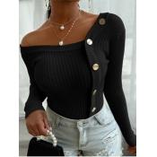 lovely Street V Neck Buttons Design Black Sweater