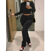 Lovely Casual Turtleneck Lace-up Skinny Black Two Piece Pants Set