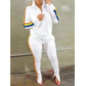 Lovely Sportswear Turndown Collar Patchwork White