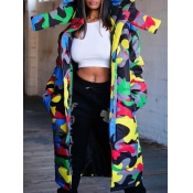 lovely Trendy Hooded Collar Camo Print Long Parka