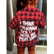 lovely Trendy Shirt Collar Grid Print Red And Black Girl Blouse