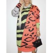 Lovely Street O Neck Print Patchwork Jacinth Mid Calf Dress