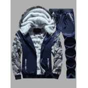 Lovely Casual Hooded Collar Print Patchwork Deep Blue Men Two-piece Pants Set