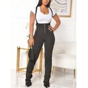 lovely Chic Zipper Design Skinny Black One-piece J