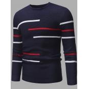 lovely Stylish O Neck Striped Navy Blue Sweater