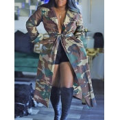 Lovely Stylish Camo Print Army Green Long Trench C