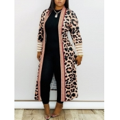 Lovely Casual Leopard Print Loose Long Coat