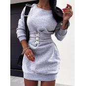 Lovely Casual O Neck Bandage Design Grey Mini Dres