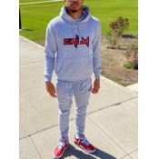 lovely Casual Hooded Collar Print Loose Grey Men Two-piece Pants Set