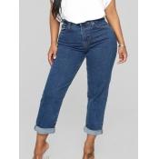 lovely Stylish High-waisted Basic Blue Jeans