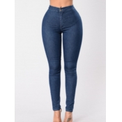 lovely Casual Basic Skinny Deep Blue Jeans