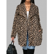 Lovely Trendy Turndown Collar Leopard Print Leathe