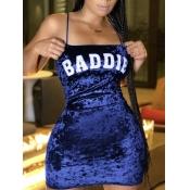 Lovely Sexy Spaghetti Strap Letter Print Blue Mini Dress