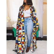lovely Casual Grid Print Loose Yellow Long Trench