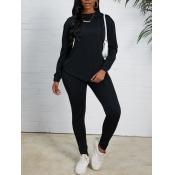 Lovely Casual O Neck Basic Black Two-piece Pants S