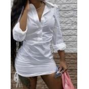 Lovely Casual Turndown Collar Drawstring White Mini Dress