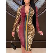Lovely Stylish Leopard Print Patchwork Mini Dress(Batch Print)