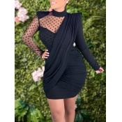 Lovely Stylish Turtleneck Dot Print Patchwork Black Mini Dress