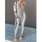 lovely Trendy Leopard Print Patchwork One-piece Ju