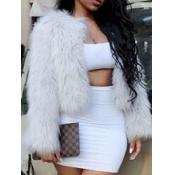 lovely Stylish Basic White Faux Fur