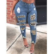 Lovely Street Leopard Print Patchwork Blue Jeans