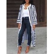 lovely Stylish Striped Side High Slit Black And Wh