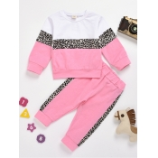 lovely Sportswear O Neck Leopard Print Patchwork Pink Girl Two-piece Pants Set