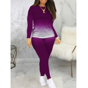 Lovely Casual O Neck Gradient Print Purple Two Piece Pants Set