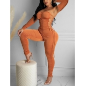 lovely Sexy Bandage Fold Design Caramel Color One-piece Jumpsuit