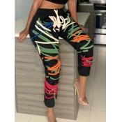 Lovely Sportswear Print Skinny Black Pants(Batch Print)
