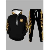 lovely Stylish Hooded Collar Print Black Men Two-piece Pants Set