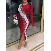 Lovely Sexy Patchwork Bandage Design Red Ankle Length Dress
