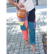 lovely Casual Color-lump Patchwork Black Pants