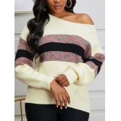 lovely Trendy Print Patchwork Apricot Sweater