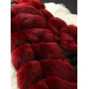 Lovely Stylish Sleeveless Wine Red Faux Fur