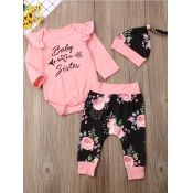 lovely Casual O Neck Letter Print Pink Girl Two-pi