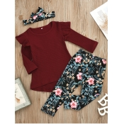 lovely Sweet O Neck Plants Print Wine Red Girl Two