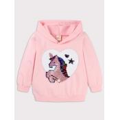 Lovely Casual Hooded Collar Cartoon Print Pink Gir