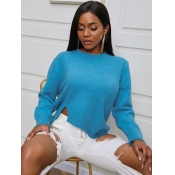 lovely Street O Neck Asymmetrical Blue Sweater