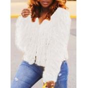 lovely Stylish Tassel Design White Faux Fur