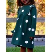 lovely Casual O Neck Dot Print Green Girl Knee Len