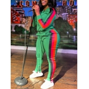 Lovely Sportswear Hooded Collar Patchwork Green Plus Size Two-piece Pants Set