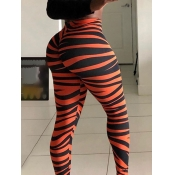 Lovely Casual Striped Print Skinny Orange Leggings