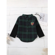 Lovely Trendy Shirt Collar Grid Print Blackish Gre