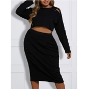lovely Casual O Neck Hollow-out Black Plus Size Tw