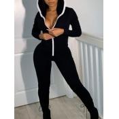lovely Sportswear Hooded Collar Zipper Design Blac